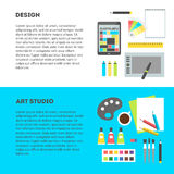 Set horizontal banners workplace of designer with text. Set horizontal banners with text, flat design vector illustration of modern creative office workspace of Stock Images