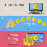 Set of horizontal bitcoin banners for web-sites. Set of three horizontal banners with bitcoins, computer, laptop, start button and place for text, vector Royalty Free Stock Image