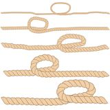 Set of horizontal brown ropes with loops are isolated on white background. Stock Images