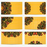 Set of horizontal business cards with flowers and berries. Bright vintage pattern style Khokhloma for artistic and creative compan. Ies in the field of beauty Stock Photography
