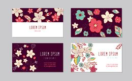 Set of horizontal business visiting cards temlpates. Vintage pattern in modern style with doodle flower. Vector stock illustration