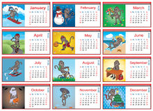 Set of horizontal calendars for each month in 2016. Active monkey Royalty Free Stock Photo