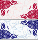 Set of horizontal cards with floral elements on the corners in two colors. Vector illustration Stock Photos