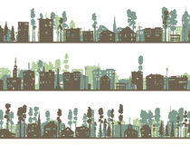 Set of horizontal childish banners of built, home and trees. Royalty Free Stock Photos