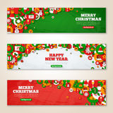 Set of horizontal Christmas banners Stock Image
