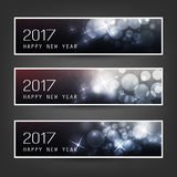 Set of Horizontal Christmas, New Year Banners - 2017. Best Wishes - Set of Three Abstract Sparkling Bright Colorful Bubbly Transparent Bokeh Year's Header vector illustration