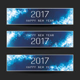 Set of Horizontal Christmas, New Year Banners - 2017 Stock Image