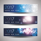 Set of Horizontal Christmas, New Year Banners - 2017 Royalty Free Stock Images