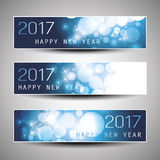 Set of Horizontal Christmas, New Year Banners - 2017 Royalty Free Stock Photography