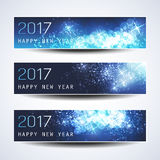 Set of Horizontal Christmas, New Year Banners - 2017 Royalty Free Stock Photos