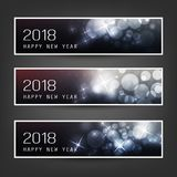 Set of Horizontal Christmas, New Year Vector Banners - 2018 royalty free illustration