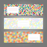 Set of horizontal  Colorful Banners. Abstract Geometric ornament Royalty Free Stock Photo