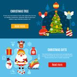 Christmas Tree And Gifts Banners. Set of horizontal flat banners with xmas tree and christmas gifts on blue background isolated vector illustration Royalty Free Stock Images