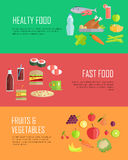 Set of Horizontal Food Concepts Vector Banners. Set of horizontal banners for nutrition theme. Flat design. Collection of fast food, healthy food, fruits Royalty Free Stock Photos