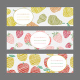 Set of Horizontal Fruit Banners. Harvest berry ornament. Vector set. Stock Image