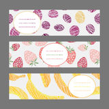 Set of Horizontal Fruit Banners. Healthy lifestyle Cards Series. Royalty Free Stock Photos