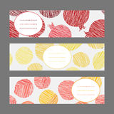 Set of Horizontal Fruit Banners. Healthy lifestyle Cards Series. Stock Images