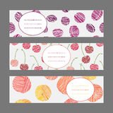 Set of Horizontal Fruit Banners. Healthy lifestyle Cards Series. Royalty Free Stock Photography