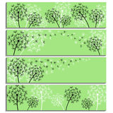 Set of horizontal green banners with dandelions fluff Stock Images
