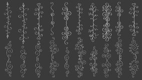 Set of horizontal hand-drawn patterned banners. Big set of vertical hand-drawn patterned banners for vintage design Stock Photo