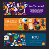 Set of Horizontal Happy Halloween Banners Royalty Free Stock Photo