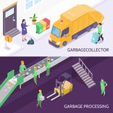 Garbage Recycling Isometric Banners. Set of horizontal isometric banners with garbage collector and refuse truck, waste recycling  vector illustration Royalty Free Stock Photos