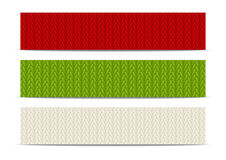 Set of horizontal knitted banners 500 x 100. Size Stock Images