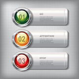 Set of horizontal metallic banners with round shiny buttons Royalty Free Stock Photos