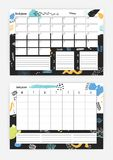 Set of horizontal month and weekly planner templates with bright colored abstract decorative elements on background, to. Do list and place for notes. Effective Stock Photos