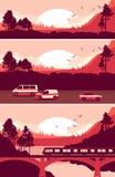 Set of horizontal nature banner Stock Photos