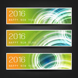 Set of Horizontal New Year Banners With Colorful Background and Transparent Concentric Circles - 2016 Royalty Free Stock Photos