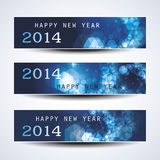 Set of Horizontal New Year Banners - 2014. Set of Three Abstract Bright Blue New Years Banners in Freely Scalable and Editable Vector Format Royalty Free Stock Image