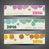 Set of Horizontal New Year Banners - 2016 Stock Photography