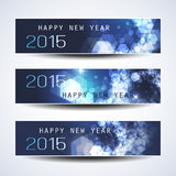 Set of Horizontal New Year Banners - 2015. Set of Three Abstract Sparkling Bright Blue New Year's Banners in Freely Scalable and Editable Vector Format Royalty Free Stock Image