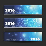 Set of Horizontal New Year Banners - 2016 Royalty Free Stock Image