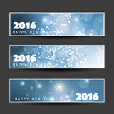 Set of Horizontal New Year Banners - 2016 Stock Photo