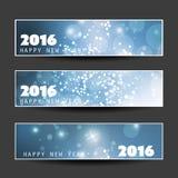Set of Horizontal New Year Banners - 2016 Stock Photo