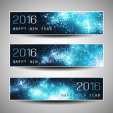 Set of Horizontal New Year Banners - 2016 Stock Images