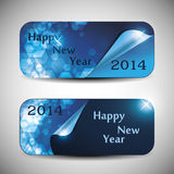 Set of Horizontal New Year Banners - 2014. Two Abstract Bright Blue New Year's Banners in Freely Scalable and Editable Vector Format Stock Photography