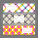 Set of Horizontal Plaid Banners. Abstract Geometric ornament. Ve Royalty Free Stock Images