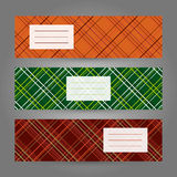 Set of Horizontal Plaid Banners. Abstract Geometric ornament. Ve Royalty Free Stock Image