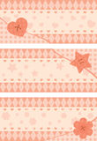Set of horizontal postcards with pink stylized button Stock Photography