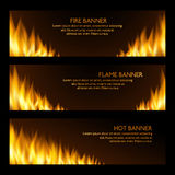 Set of horizontal realistic fire banners.  Royalty Free Stock Images