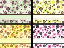 Set of horizontal retro banners with flowers. Four 1960's/1970's retro banners in bright colors. The tiles can be combined seamlessly. Graphics are grouped and Royalty Free Stock Photography