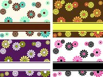 Set of horizontal retro banners with large flowers. Four 1960's/1970's retro banners in saturated colors. Graphics are grouped and in several layers for easy Royalty Free Stock Photos