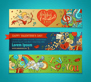 Set of horizontal romantic banners. Stock Images