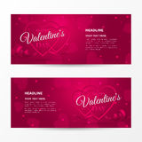 Set of horizontal romantic banners for `Happy Valentine`s day` with frames of shaped heart, ribbon and confetti. Holiday pink background for flyers with hearts Royalty Free Stock Images