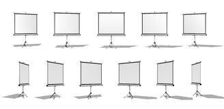 Set of Horizontal screen for a projector or an advertising banner. Different angles. Isolated on white background. Set of Horizontal screen for a projector or Royalty Free Stock Images