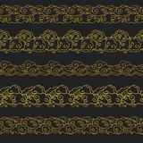 Set of horizontal seamless borders in oriental style. Vector hand drawn illustration. Golden patterns on black background Royalty Free Stock Photos