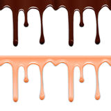 Set of horizontal seamless drip glaze. Chocolate and pink smudges  on white background. Vector illustration Royalty Free Stock Photography